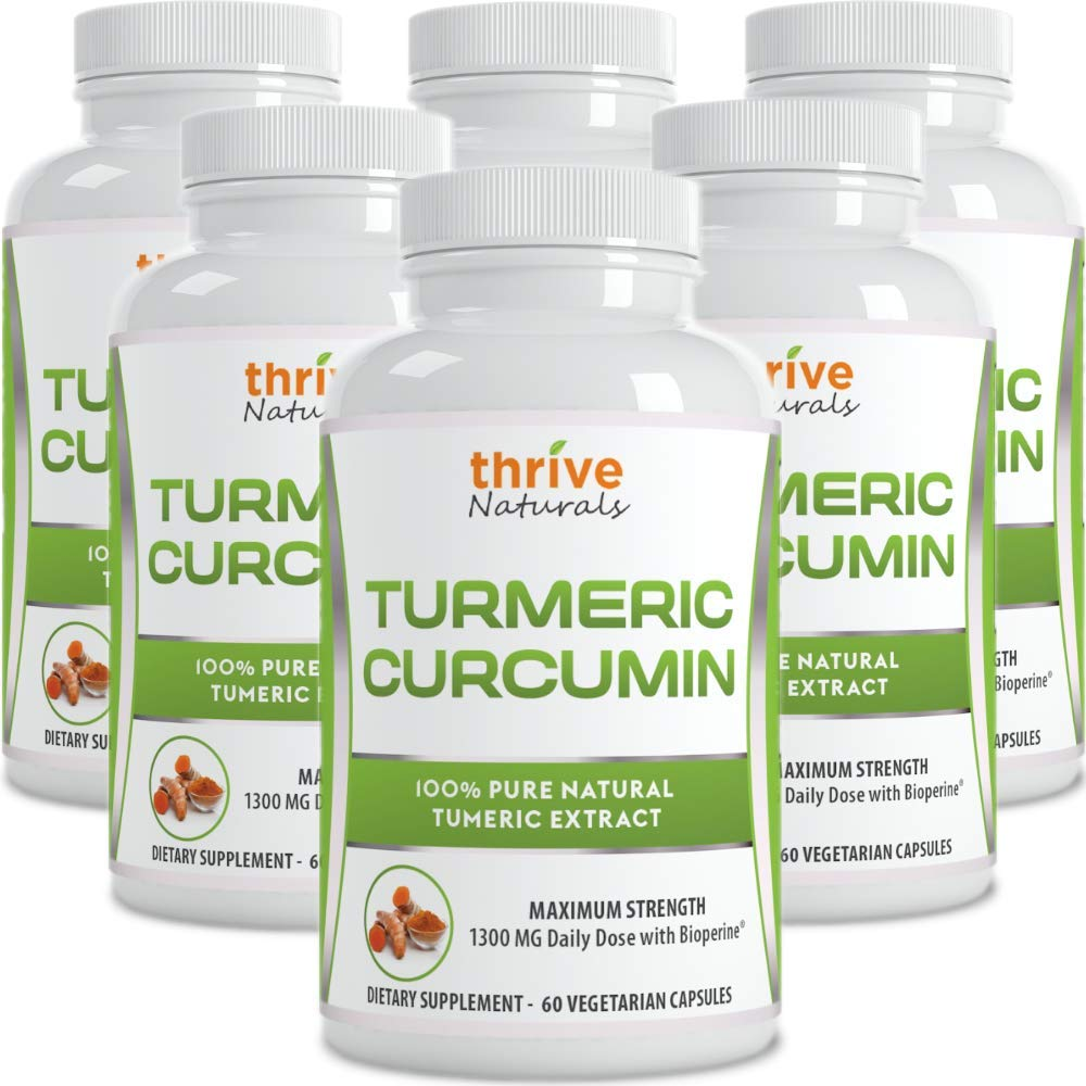 Thrive Naturals Turmeric Curcumin with BioPerine - 60 Vegetarian Capsules (6 Pack)