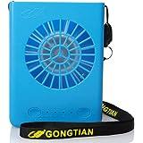 Gongtian mini扇風機 USB&充電式バッテリー両対応扇風機 3段階風量切り替え 携帯用扇風機 首に掛ける ハンズフリー (ブルー)