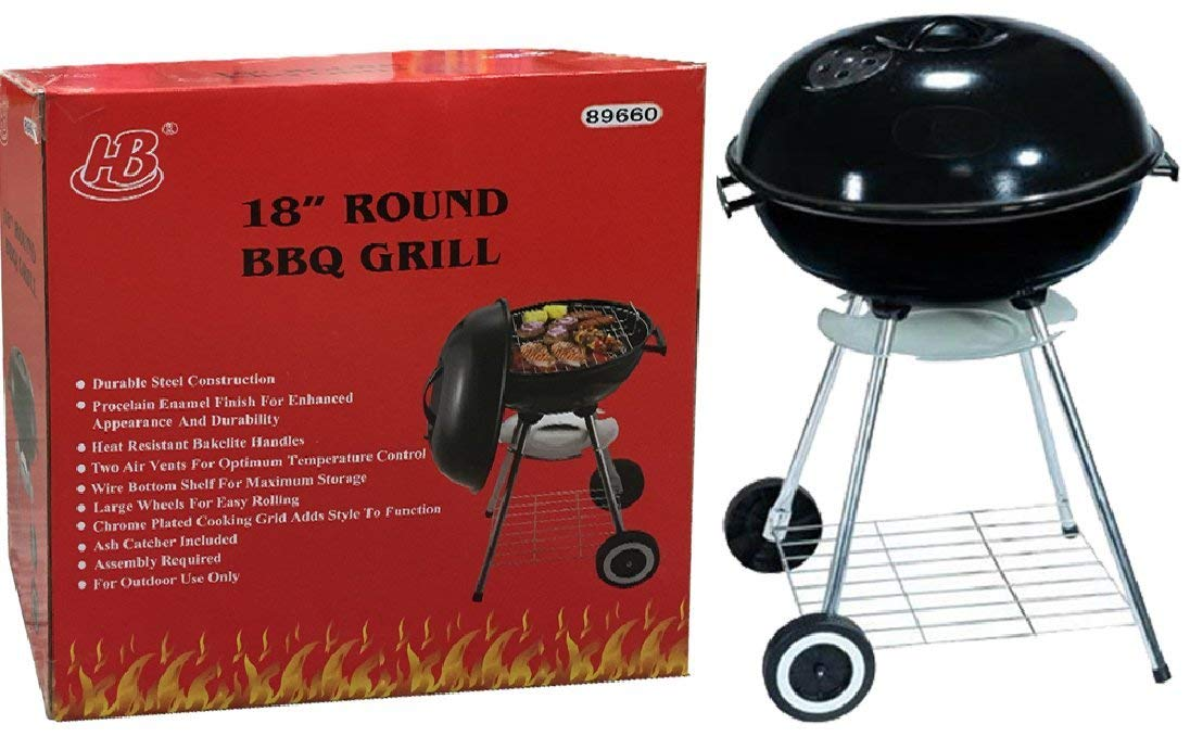 HOMEBAY 18'' Round BBQ Grill Durable Great for Tailgate Party