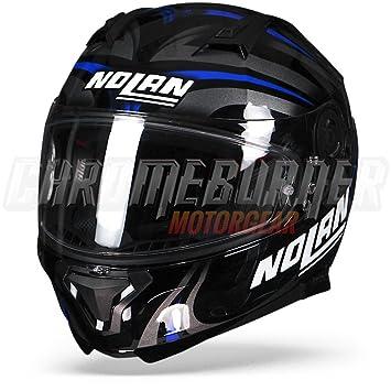 Nolan N87 LEDLight casco integral moto policarbonato N-Com, Negro Brillante Azul