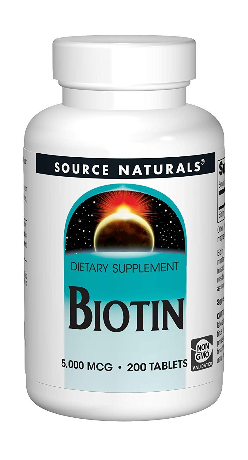 Source Naturals Biotin 5,000mcg High Potency B Vitamin Nutrients Support Healthy Hair, Skin & Nails - Maximum Strength Biotin Deficiency Supplement - 200 Tablets