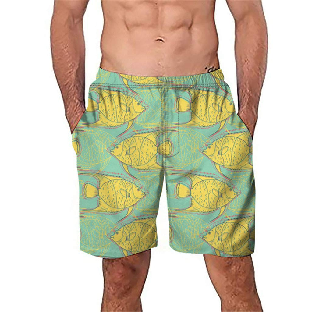 Lmtime Men Casual Beachwear 3D Graffiti Printed Shorts Beach Work Trouser Boxer Shorts Summer Hawaiian Pant