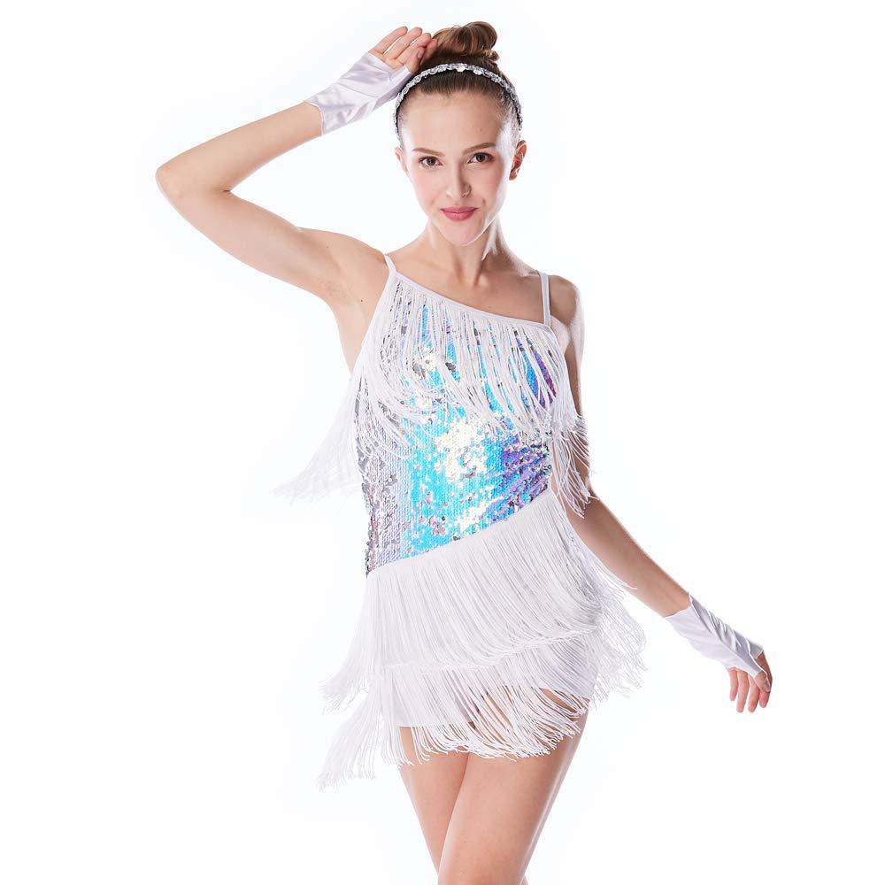 Blanc IC MiDee Hemdchen, ou So CE Paillette besetzte asymétriques Pompon Rock Danse Latin Robe pour Femme