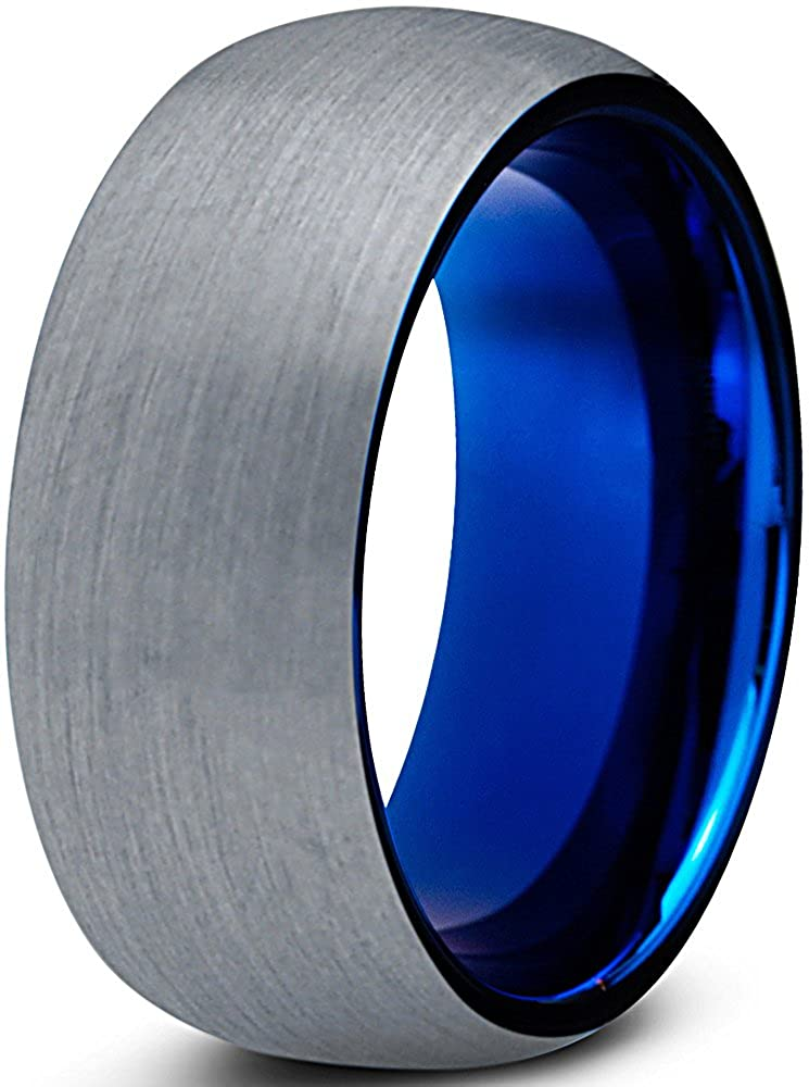 Tungsten Wedding Band Ring 8mm for Men Women Comfort Fit Blue Round Domed Brushed Charming Jewelers CJCDN-610-B