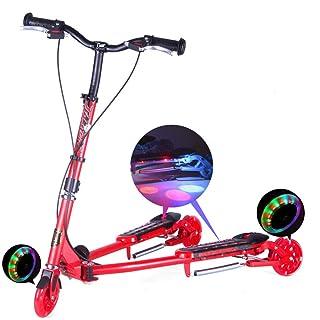 CAR- Children's Scooter Altalena Motorino con Un Solo Clic Pieghevole 3 Ruote Lampeggianti PU per 5-14 Anni,Red