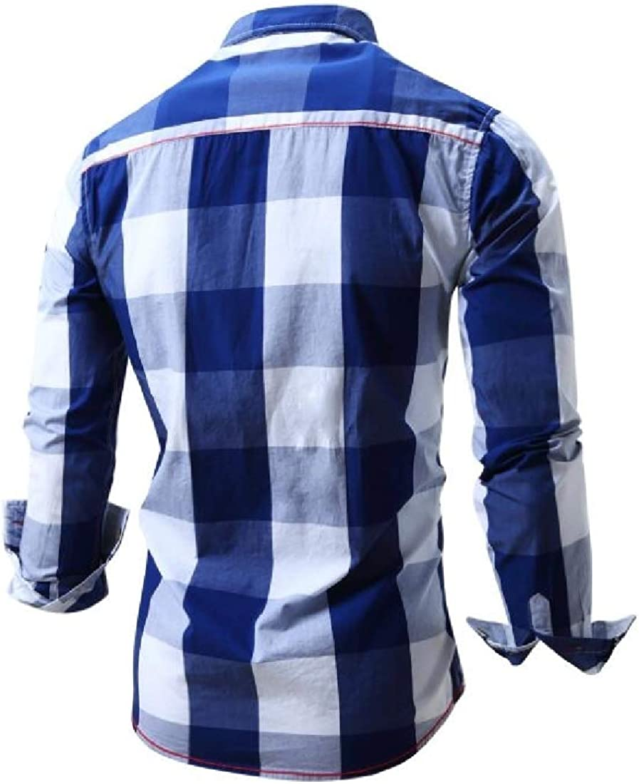 CBTLVSN Men Fashion Checked Dress Shirt Long Sleeve Non-Iron Plaid Shirt Top