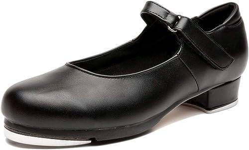NLeahershoe Slide Buckle Leather Tap Shoes Dancing Shoes for Women,Ladies Black