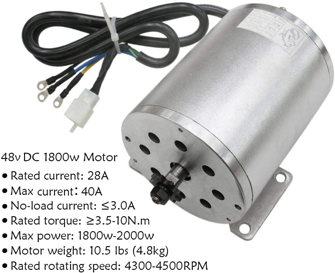 WPHMOTO 48V High Speed 1800W Electric Brushless DC Motor with 32A Brushless Speed Controller for e-Bike ATV Go Kart Moped Mini Bikes Motorized Bicycle