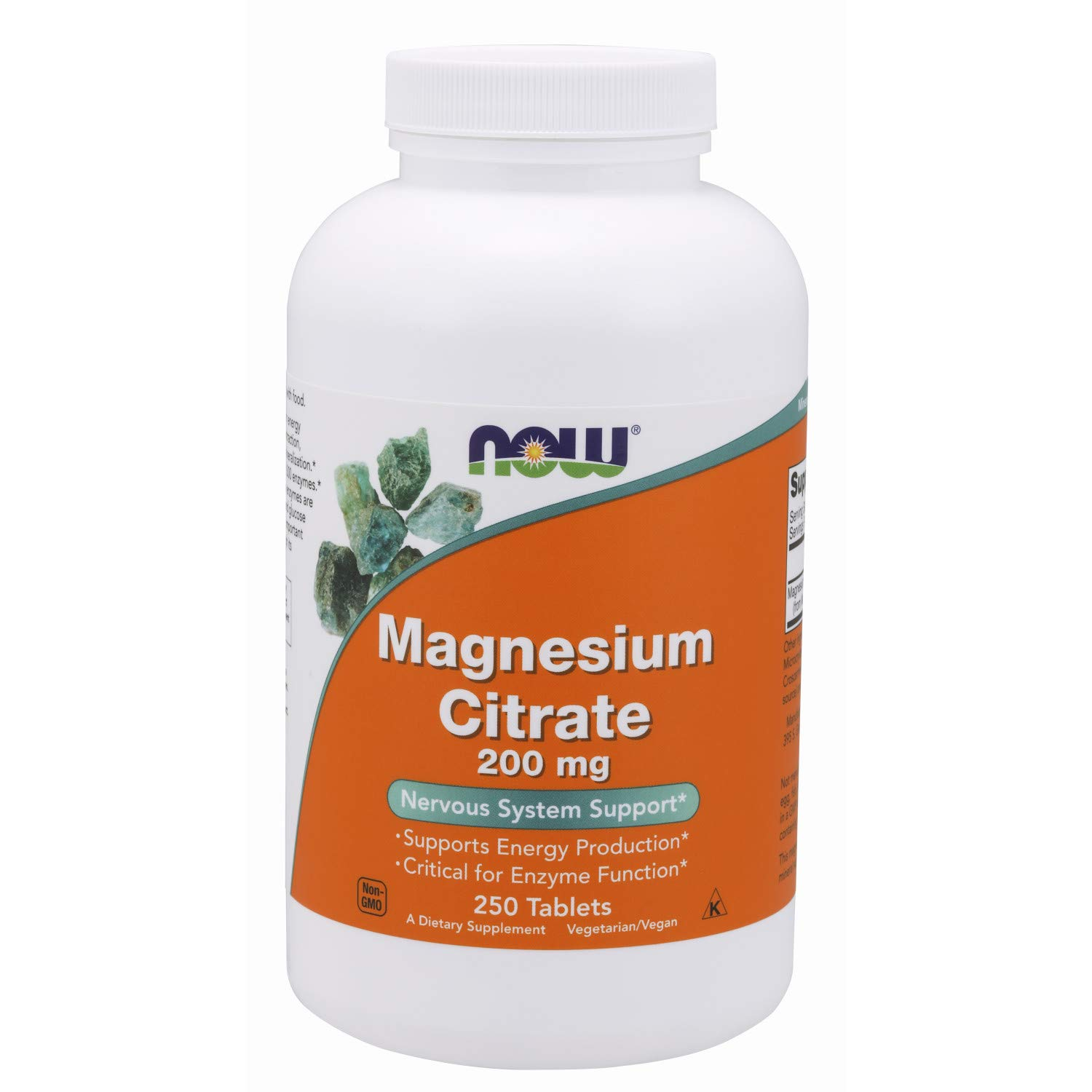 NOW Supplements Magnesium Citrate 200 mg, 250 Tablets