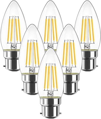 B22 LED Filament Candle Bulb 40W Incandescent Replacement Retro Bulb Non-Dimmable 6-Pack LVWIT 4W C35 Warm White 2700K 470Lm