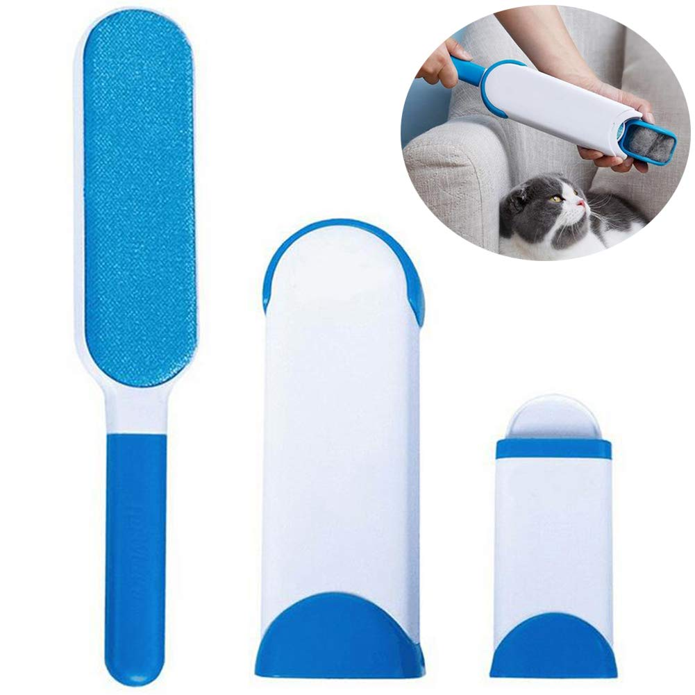 Angushy Pet Hair Remover Brush Set, Reusable Double-Side Fur Remover Lint Brush, Fur Dust Removal Tool Kit with Self-Cleaning Base for Pet Dog Cat Furniture Clothing Car Seat