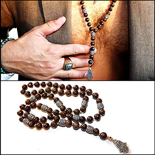 Lariat necklace with bronzite gemstones beads and Hamsa Pendant - Men Neckless - Gift for men - Mala necklace ()