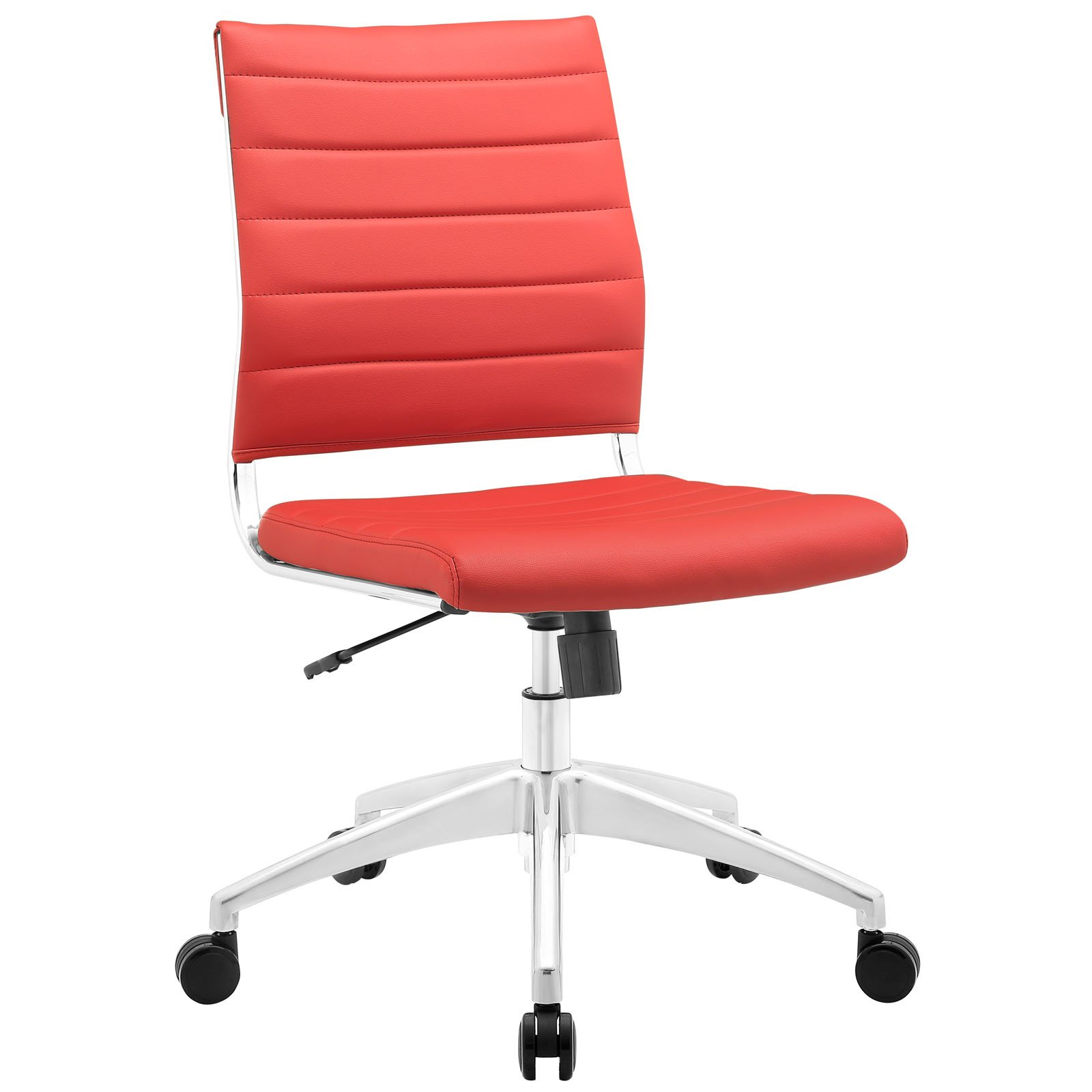 Modway Jive Ribbed Armless Mid Back Swivel Conference Chair In Red