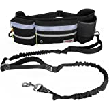 """FURRY BUDDY Hands Free Dog Leash, Dog Walking and Training Belt with Shock Absorbing Bungee Leash for up to 180 lbs, Phone Pocket and Water Bottle Holder, Fits All Waist Sizes From 28"""" to 49"""""""