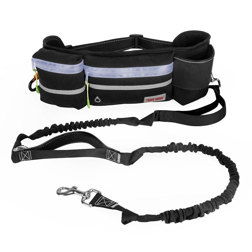 Hands Free Dog Leash, Dog Walking and Training Belt with Shock Absorbing Bungee Leash for up to 180lbs Large Dogs, Phone Pocket and Water Bottle Holder, Fits All Waist Sizes From 28'' to 49''