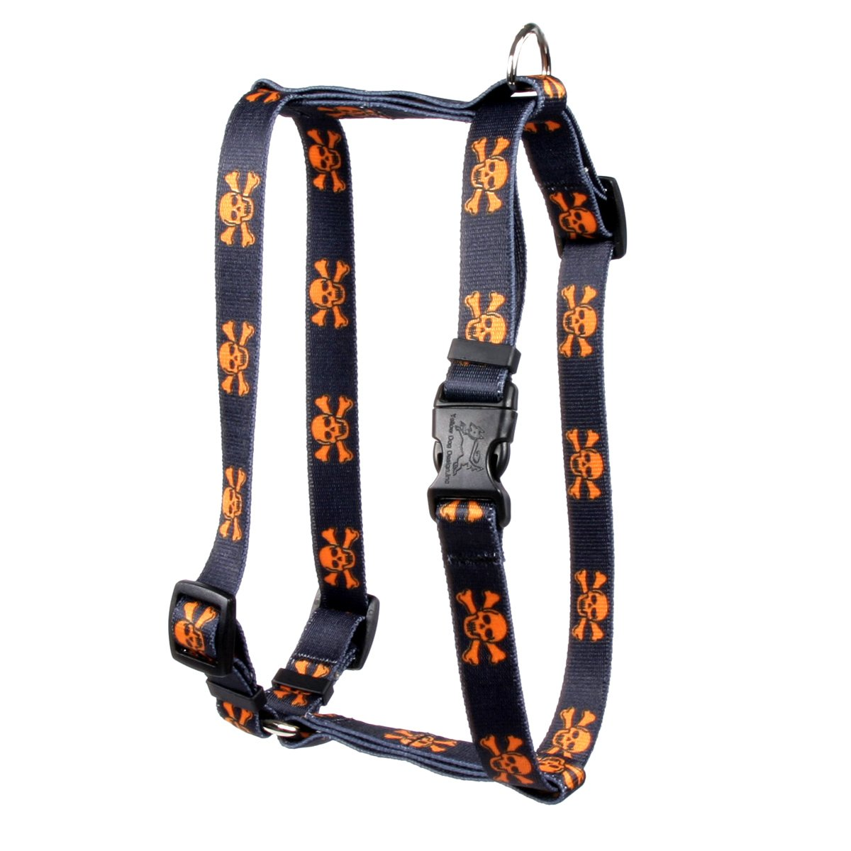 Yellow Dog Design Orange Black Skulls Roman Style H Dog Harness, X-Large-1'' Wide fits Chest of 28 to 36''