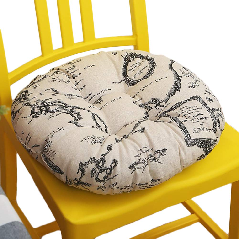 Korea Style Round Dining Chair Pad, Floor Cushion with Cotton Filler, for Bedroom/Bay Window/Floor Set of 2, Map 16 Inch
