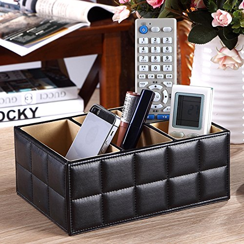 Cacys-Store - PU Leather Storage Boxes Luxury for Remote Control Phone Cosmetic Make Up Container Home Office Car Organizer Black White