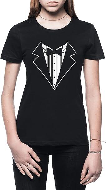 Rundi Falso Tux Smoking Traje Corbata Mujer Camiseta Negro Todos ...