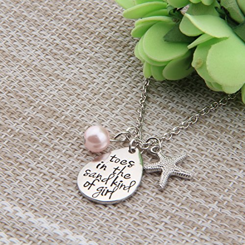ENSIANTH Toes In The Sand Kind of Girl Engraved Charms Necklace Beach Jewelry with Starfish (waterdrop necklace) by ENSIANTH (Image #5)