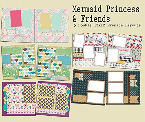 Mermaid Princess & Friends Scrapbook Set - 5 Double Page Layouts