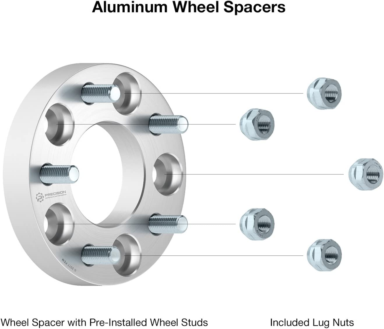 38mm RockTrix for Precision European 5x127 to 5x114.3 2pc 1.5 Thick Wheel Adapters Spacers 5x5 to 5x4.5 with 1//2x20 Studs//Nuts for many GMC Buick Chevy Changes Bolt Pattern