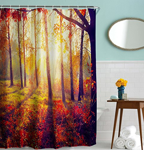 Fall Shower Curtain, Goodbath Autumn Sunshine Forest Tree Waterproof and Mildew Resistant Bathroom Bath Curtains with Hooks, 72 x 72 Inch, Gold Red Brown