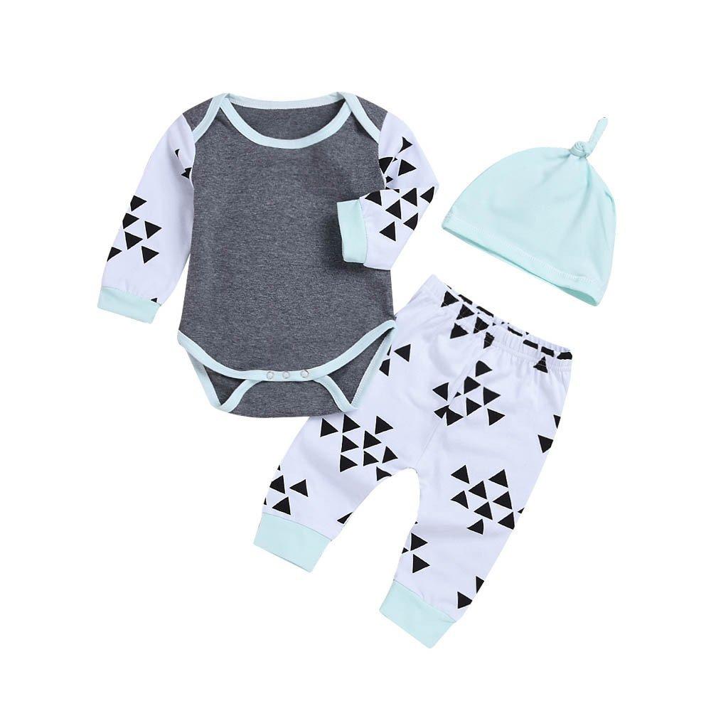 3PCS Newborn Baby Girls Plain Print Romper Bodysuit Tops+Geometric Long Pants Winter Outfit Sets Yamally Yamally_9R