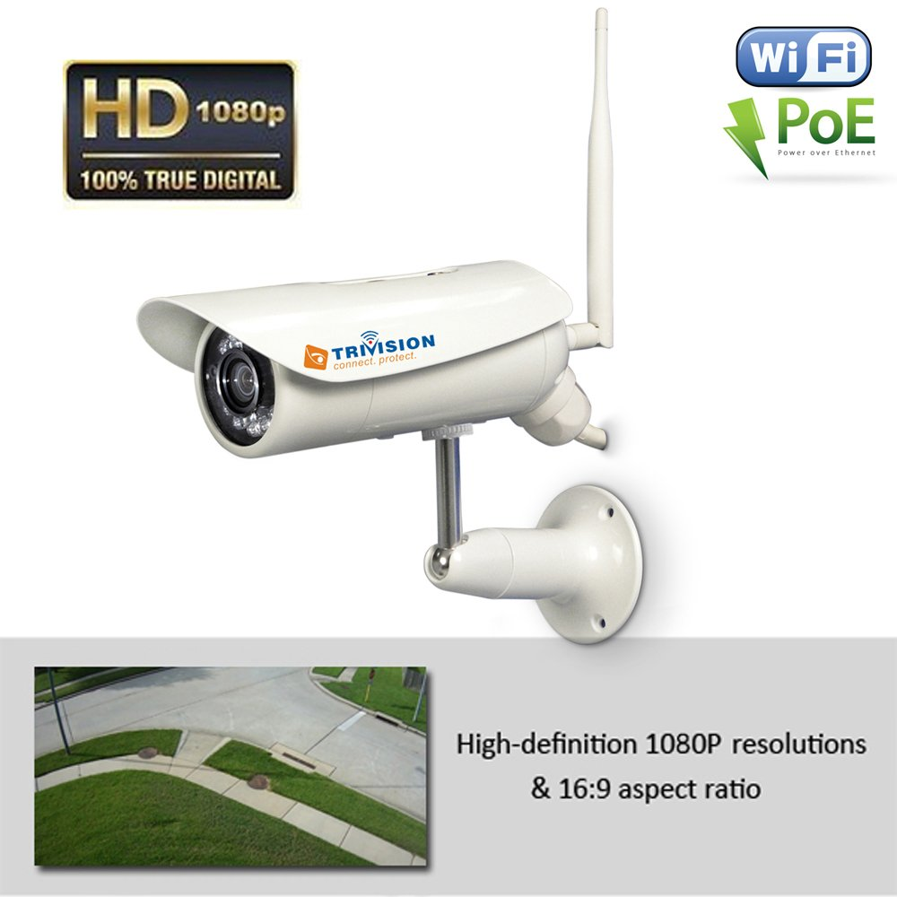 TriVision Outdoor Security Camera WiFi POE HD 1080P with Long Range Motion Sensor, Super Low Light Performance, Alarm Recording with SD Card, FTP, Google Drive, Dropbox by TRIVISION