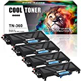 Cool Toner 4 Pack Compatible Brother TN360 TN-360 TN360 Black Toner Cartridges For Brother HL-2140 HL-2170 HL-2170W, DCP-7030 DCP-7040 DCP-7045N, MFC-7320 MFC-7340 MFC-7345N MFC-7345DN MFC-7450