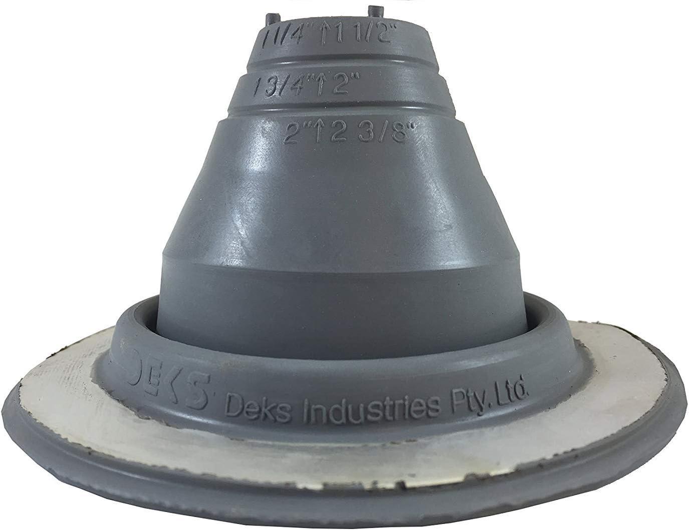 Pipe OD 1//4 to 2-1//4 Dektite Premium #1 Black EPDM Metal Roof Pipe Flashing Square Base