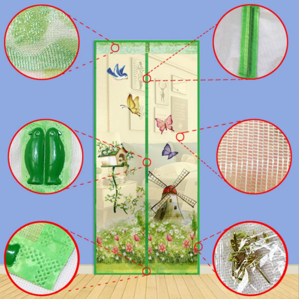 90 /× 210 cm QVIVI Magnet Fliegengitter T/ür Anti Moskito Fliegen Insekt Verschl/üsselung Bel/üftung Magnetische Vorh/änge Moskitonetz an der T/ür Fenster Mesh mit Magneten Insektenschutz,Blau
