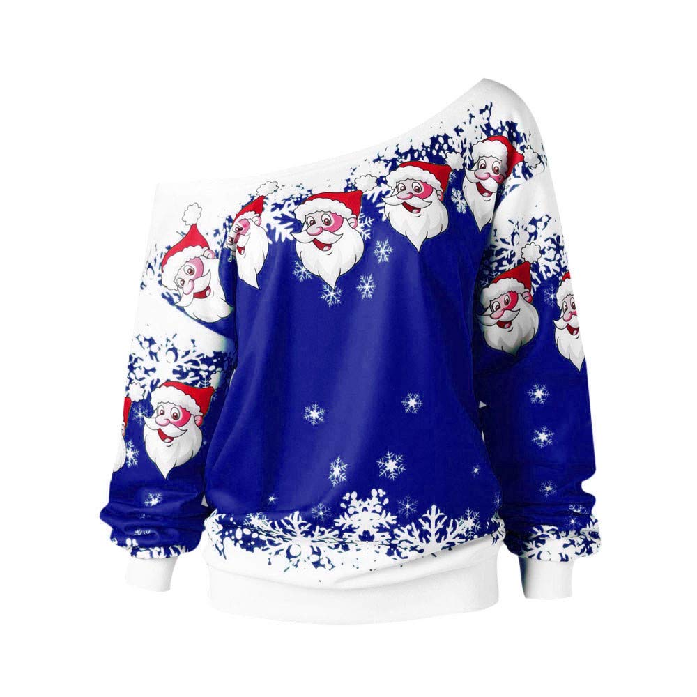 Berimaterry Damen Tops Long Sleeve Mode Frauen Frohe Weihnachten Weihnachtsmann Print Skew Kragen Sweatshirt Bluse
