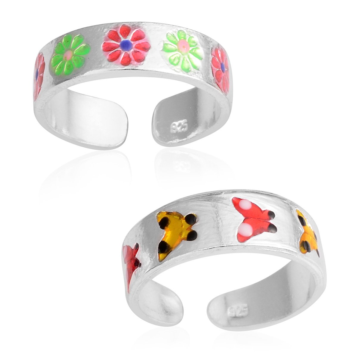 Set of 2 Enameled Sterling Silver Floral and Butterfly Toe Rings Adjustable