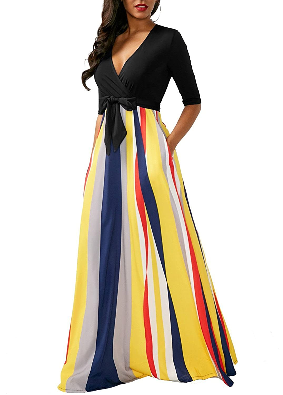 a58539d7313 Hawaiian dresses for women 3 4 sleeve wrap maxi dress stripes long party  dress with pockets. Style Sexy deep V-neck