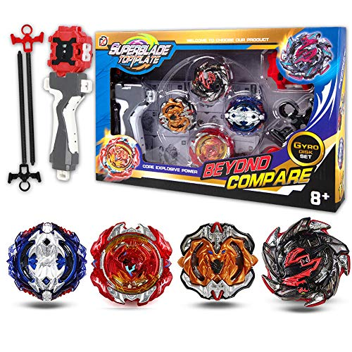 Bey Battling Top Burst Evolution Combination 4D Series | 4pcs Speed Gyro Metal | 2 throwers Set with Launcher | Combat Base Arena | Best Gift for Children Kids Toys