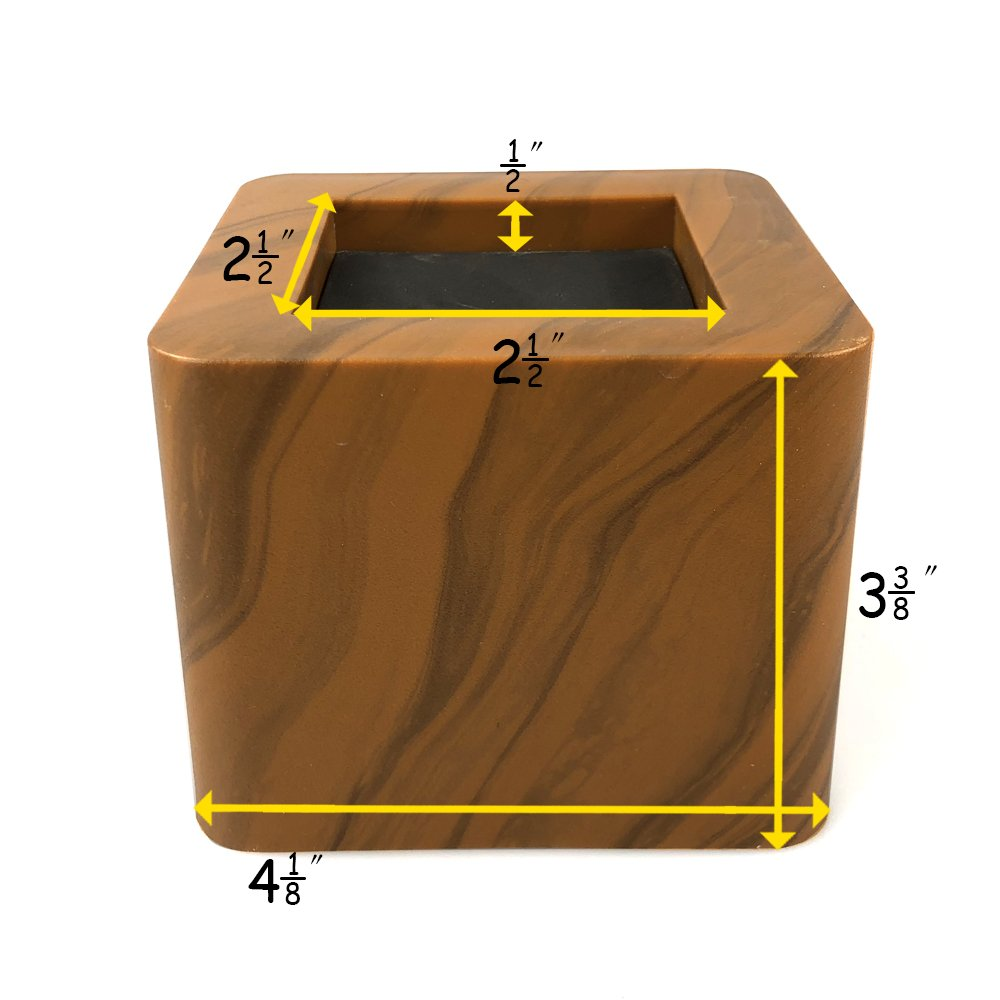 MIIX HOME Bed Risers 3 Inch | Heavy Duty Wooden Color Furniture Riser | 4PCS | Brown Sofa Risers or Table Risers by MIIX HOME (Image #2)