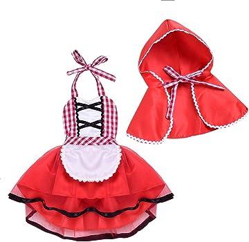 IBTOM CASTLE Disfraz Caperucita Roja Traje del Vestido Niña Bebé Ropa Recien Nacido Vestido Infantil Disfraz de Princesa de Niñas para Fiesta Carnaval ...
