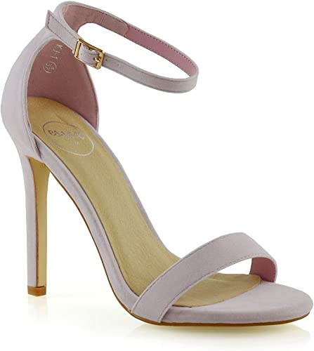 NUDE BEIGE ANKLE STRAP PEEP TOES HIGH HEELS STILETTOS SHOES SIZE 3-8