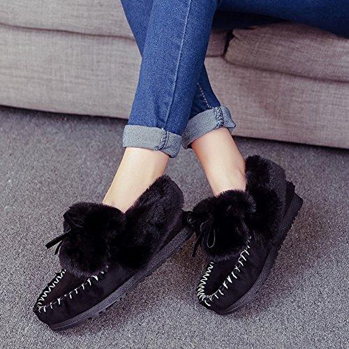 Fortunings JDS Señoras de las mujeres Invierno impermeable antideslizante peludo terciopelo termal de algodón botas madre zapatos botas para la nieve Negro