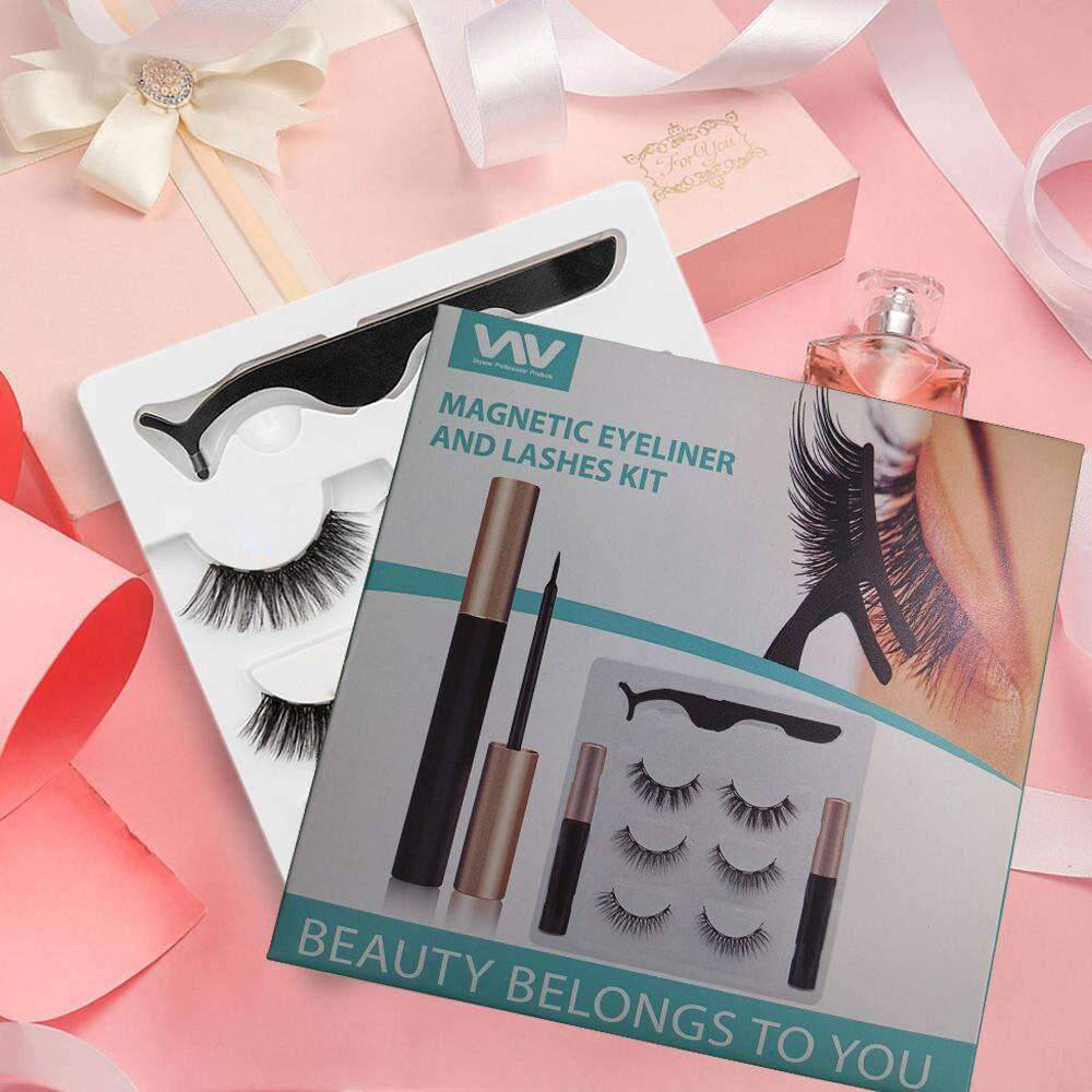 Magnetic Eyelashes, Magnetic Eyeliner and Lashes with 2pcs Eyeliner Kit, 3 Styles Magnetic Lashes, Reusable Silk False Magnetic Eyelashes, No Glue Needed, Easier To Use Than Traditional