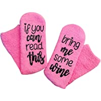 If You Can Read This Bring Me Some Wine Novelty Slipper Non Slip Fuzzy Socks for Women