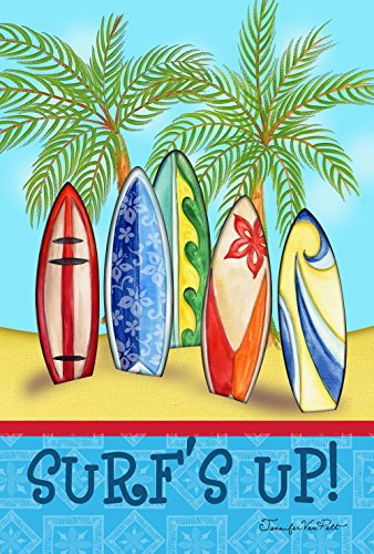 Toland Home Garden Surf's Up 28 x 40 Inch Decorative Tropical Summer Sport Surf Board Palm Tree House - Surfboard Tropical