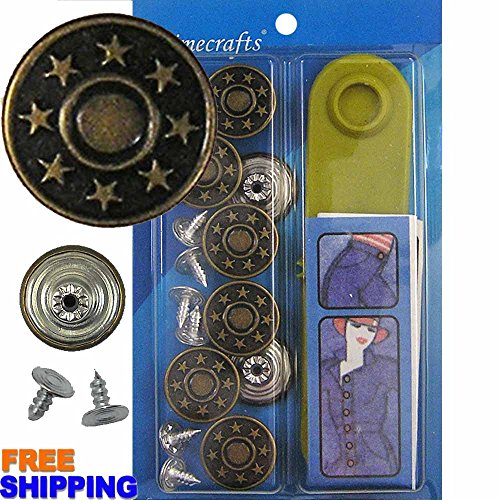 Star Tacks (17 mm No-Sew Bachelor Stars Jean Tack Buttons CT. 8 (Brass) + Setter Tool)