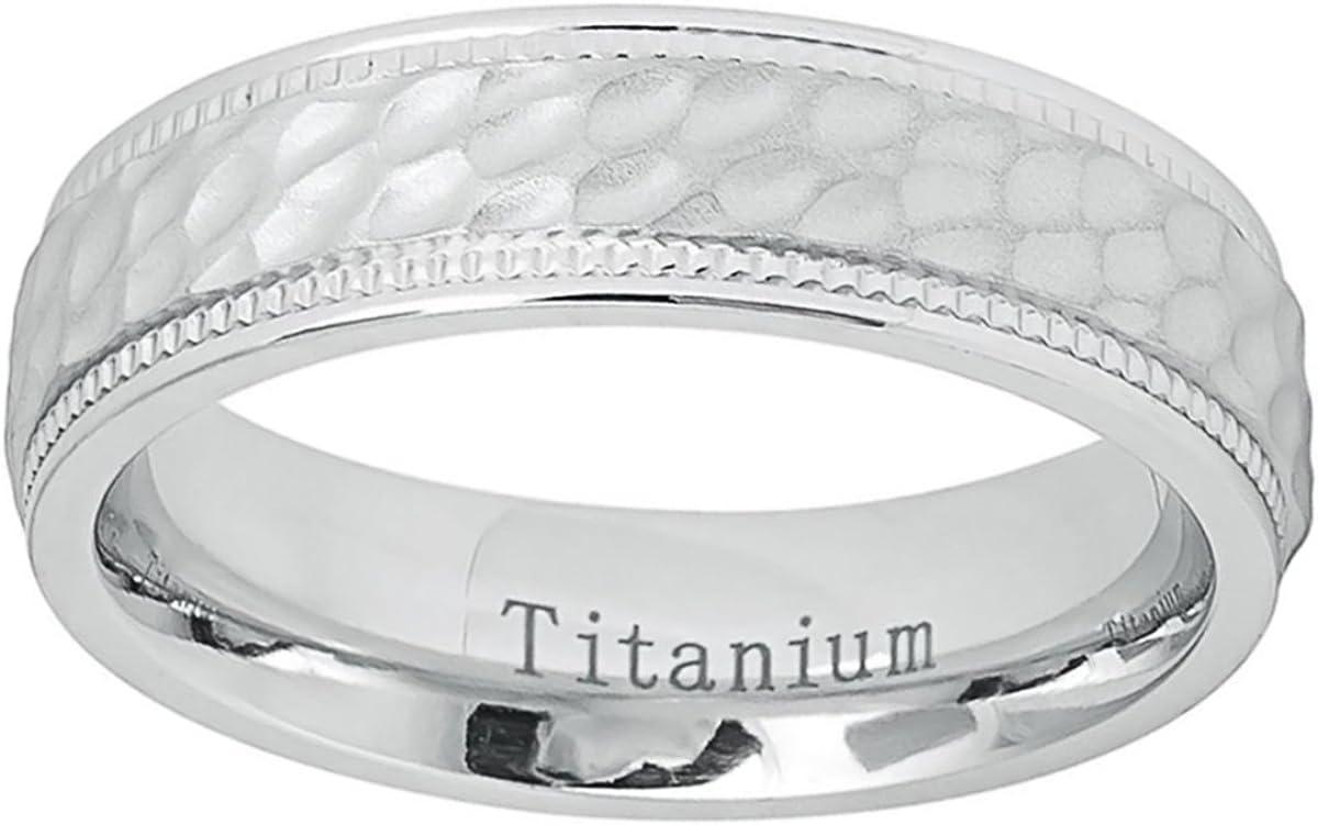 Titanium Wedding Band Ring 6mm White Brushed Dimpled Milgrain Edge Ring