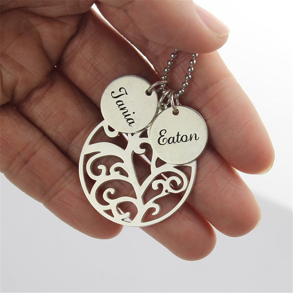 KIKISHOPQ Two Names Customized Necklace Mother Tree for Halloween