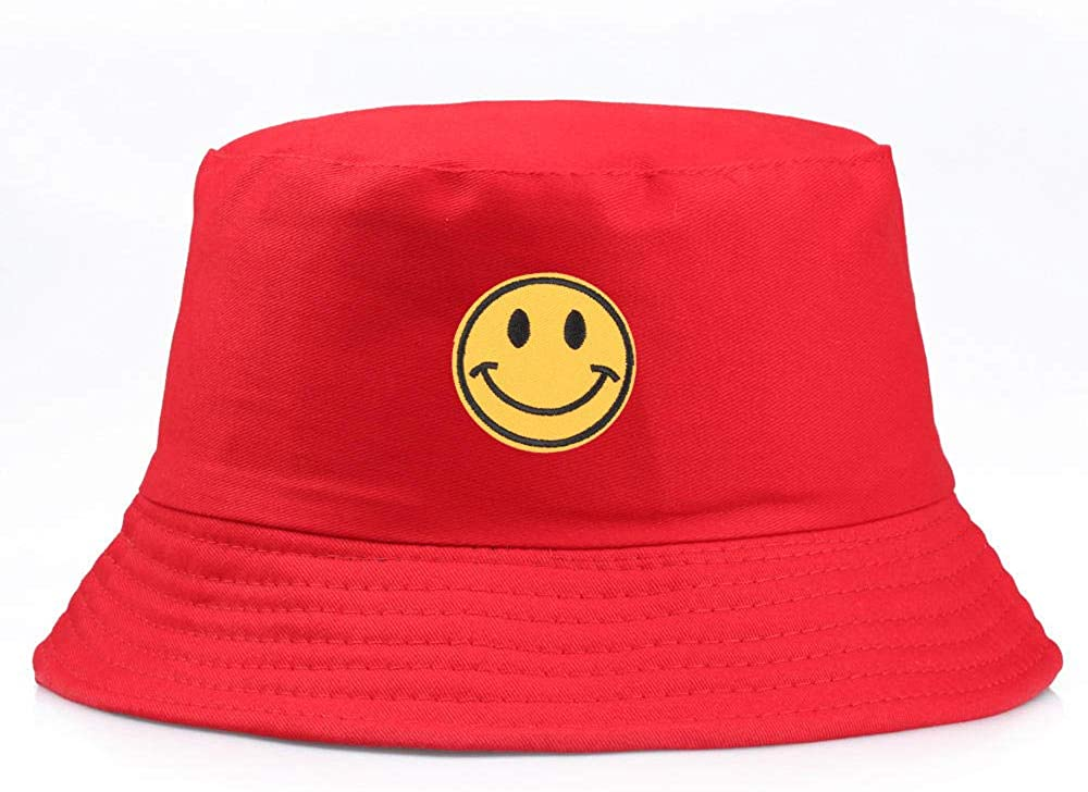 QIANWEIXI Bucket Hat Yellow Smiley Bucket Hat Happy Face Flat Caps Sun Embroidery Visor Fishing Fisherman Hat Casual Hats
