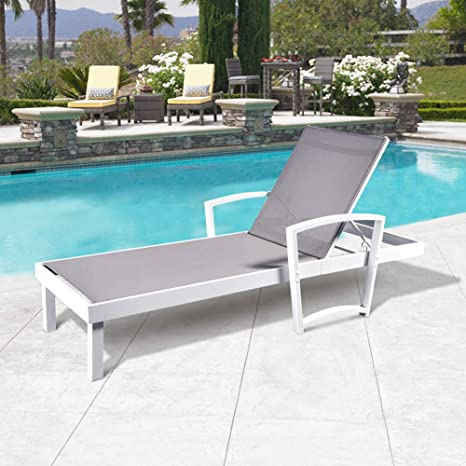 Amazon.com: Patio Reclining Chaise Lounge Chair, Ajustable ...