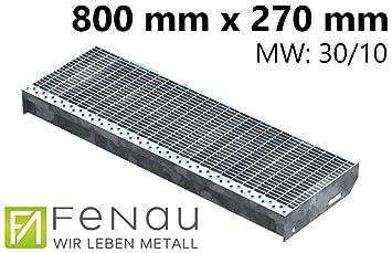 Ma/ße: 1000 x 270 mm R12 Fenau Stahl-Treppenstufe nach DIN-Norm MW: 30 mm // 30 mm Fluchttreppen geeignet//Anti-Rutsch-Wirkung Gitterrost-Stufe XSL Vollbad-Feuerverzinkt