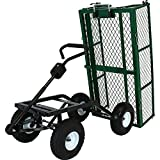 Sunnydaze Heavy-Duty Steel Dump Utility Garden Cart with Removable Sides and 10-Inch Pneumatic Tires, 660 Pound Capacity, Green
